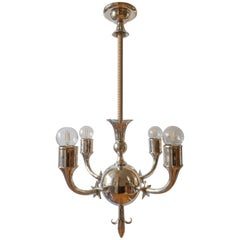 Svenskt Tenn Attributed, Rare Swedish Grace Period Four-Arm Pewter Chandelier