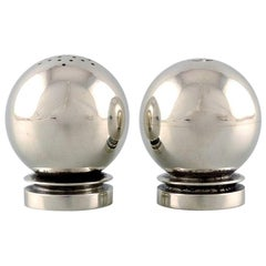 "Georg Jensen ""Pyramid"" Art Deco Salt and Pepper Set in Sterling Silver"