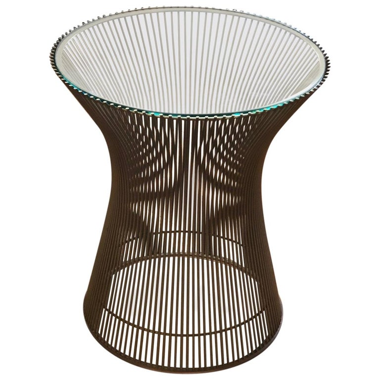Warren Platner Side Table with Glass Top For Sale