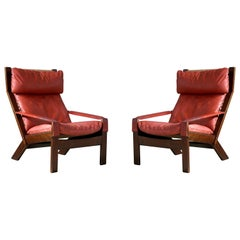 Pair of Sigurd Ressell Midcentury Reclining Leather Lounge Chairs for Westnofa