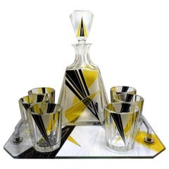 1930s Art Deco Czech Whisky Decanter Set on Matching Tray