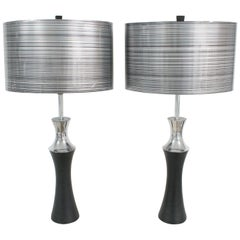 Mutual Sunset Lamp Co Polished Aluminum and Black Cast Metal Table Lamp, a Pair