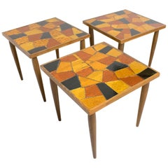 Mid-Century Modernist Georges Briard Wood and Glass Mosaic side table, a trio