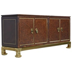 Mastercraft Hollywood Regency Brass Accent Faux Leather Asian Modern Credenza