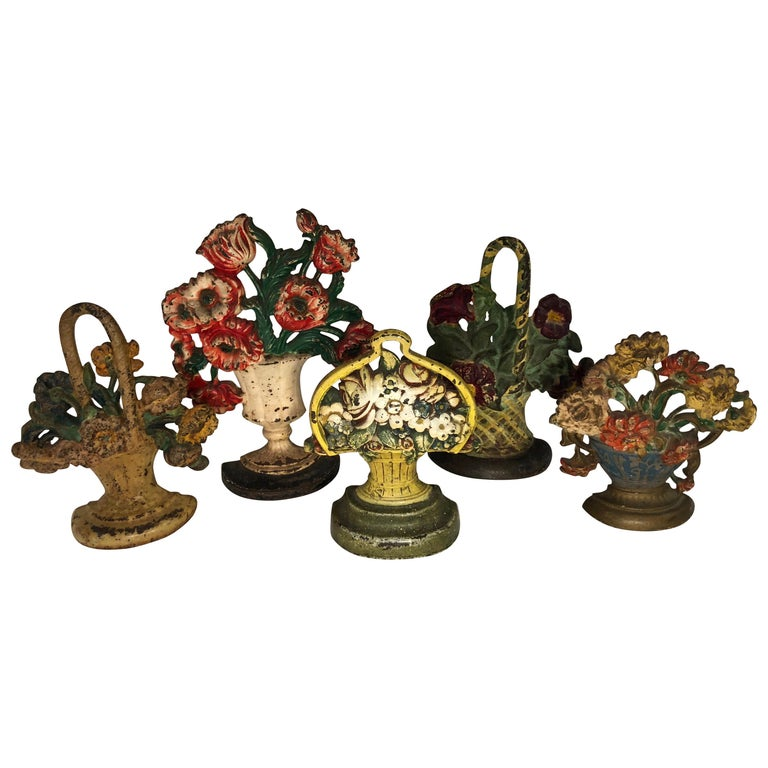 Collection of Floral Cast Iron Bookends For Sale