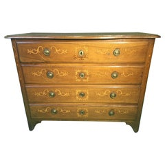 18th Century Louis XV Walnut Inlay Italian Chest of Drawers