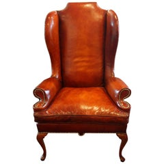 Queen Anne Style Leather Wingchair