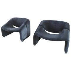 Pair of F598 Groovy Chairs in Velvet by Pierre Paulin for Artifort, 1973