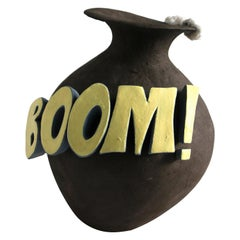 New Unique Contemporary Ceramic Vase with Cartoon Font, Designer Teemu Salonen