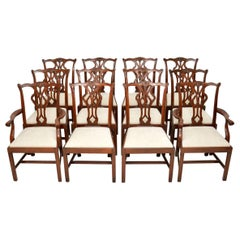 Set of 12 Antique Chippendale Style Mahogany Dining Chairs