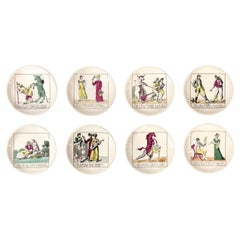 Piero Fornasetti Coasters in Original Box with Embossed Liners, Set of 8, 1950s