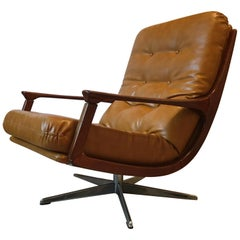 Mid-CenturyModern German Camel Leather Swivel Lounge Chair, 1960s