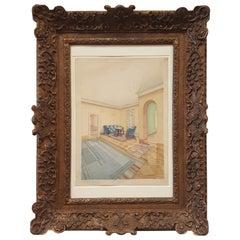 Gouache Painting of an Bauhaus/ Art Deco Interior Scene