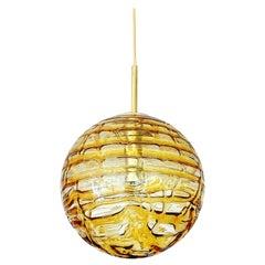 Large Midcentury Doria Murano Honeydrip Glass Globe Brass Pendant Chandelier