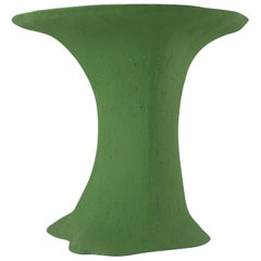 Contemporary Platform Table Hand Build from Grey Stoneware with Green Engobe