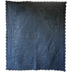 Blue Cotton Monogrammed Small Quilt, French, 19th Century