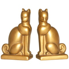 Art Deco Chalkware Gold Cat Bookends