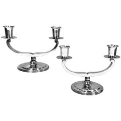 Pair of English Sterling Silver Art Deco Candelabra