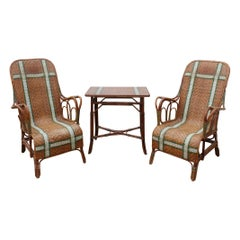 1970s Spanish Bamboo and Rattan Set of Table and Two Armchairs