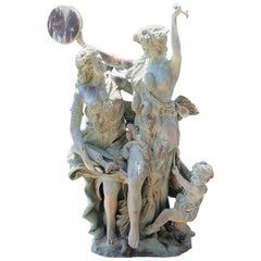 Life-Size Bronze Sculptures of Two Ladies and a Cherub