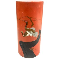 Japanese Lacquer Painted Tole Tea Container