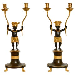 Pair of Directoire À L'amérique Ormolu and Patinated Bronze Candelabra