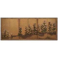 Japanese Rinpa School Folding Screen with Poppies, 17th Century