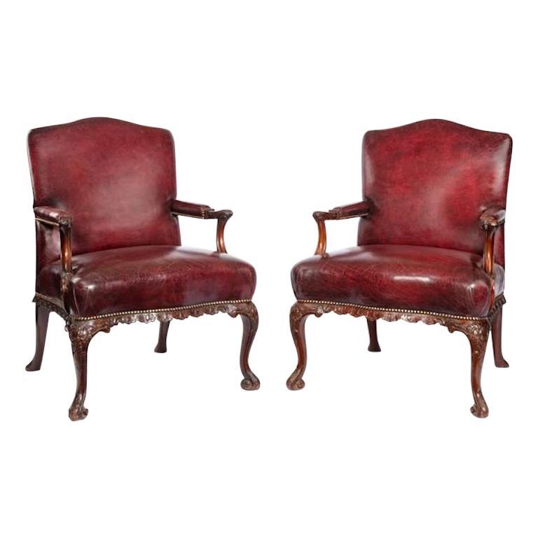 Late Victorian Mahogany Open Armchairs