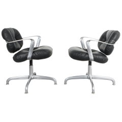 Pair of Morrison and Hannah Knoll Office Chair Aluminium Black Leather