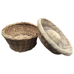 Two Vintage French Woven Wicker Bakers Baskets for Bread