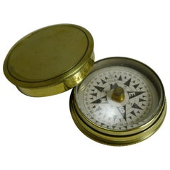 Antique English Brass Cased Floating Card Explorers Pocket Compass, circa 1880