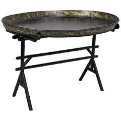 English Victorian Leather Tole Tray Coffee Table on Faux Bamboo Base