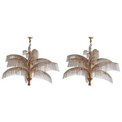 Pair of Rare Palm Tree Chandeliers, Gilt Bronze and Crystal, circa 1970s