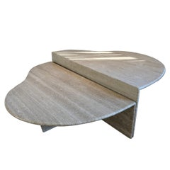 Two Tier Travertine Cocktail Table