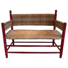 Walnut Rush Seat Bench
