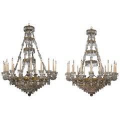 Pair of Eighteen-Light Engraved Glass Chandeliers by Baccarat, circa 1860