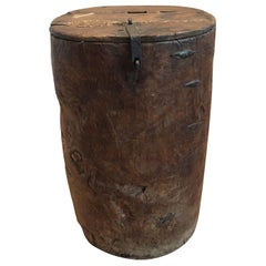 19th Century Primitive Wood Drum Table