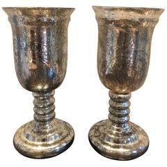 Large Pair of Antique Mercury Glass Hurricanes