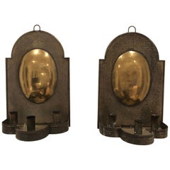 Pair of Early American Tin and Brass Sconces