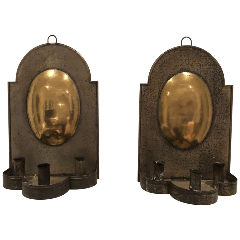 Pair of Early American Tin and Brass Sconces For Sale