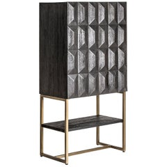 Black Wooden Dry Bar Cabinet Brutalist Style with Graphic Patterns