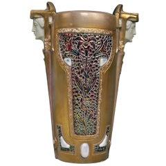 Art Nouveau Vase Ernst Wahliss Signed Vienna Female Heads Earthenware circa 1910