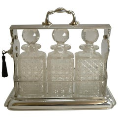 Large Antique English Three Bottle Tantalus by Mappin and Webb, circa 1900