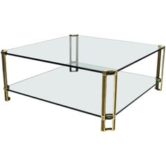 Large Peter Ghyczy Coffee Table in Brass and Glass, 1970
