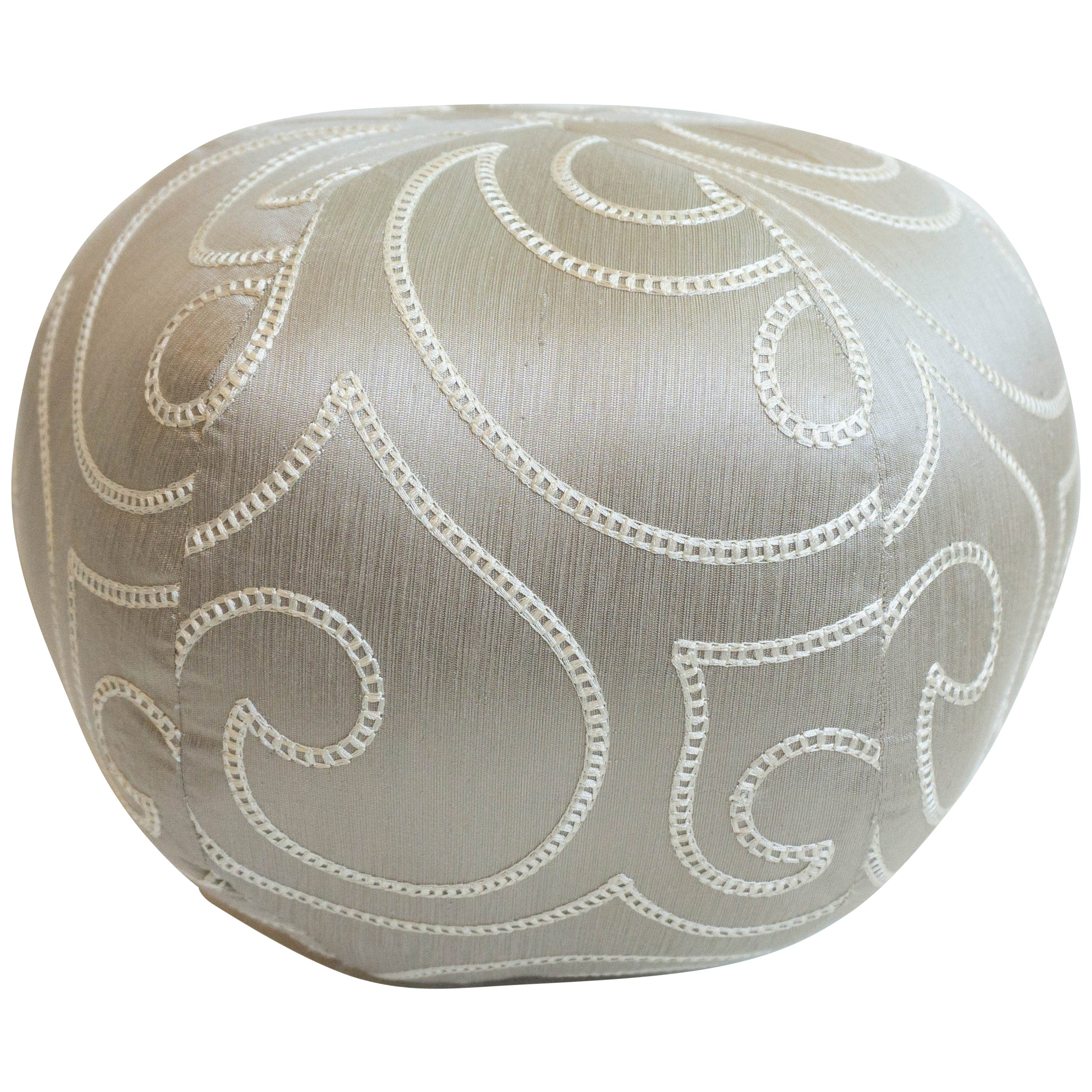 Silk Embroidered Round Ball Pillow