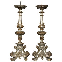 17th Century Louis XIV Italian Carved and Silvered Wood Church Candelabras