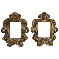 17th Century Italian Lacquered Carved Wood Pair of Picture Frames