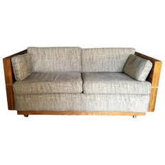 Milo Baughman Style Brass and Wood Case Loveseat