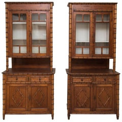 Pair of 19th Century French Faux Bamboo Large Cabinets