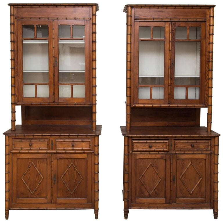 Pair of 19th Century French Faux Bamboo Large Cabinets For Sale